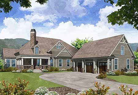 Craftsman house plans and detached garage on pinterest for Cost to build craftsman home