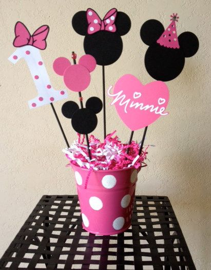 Minnie mouse birthday decoration centerpieces baby for Baby minnie mouse decoration ideas