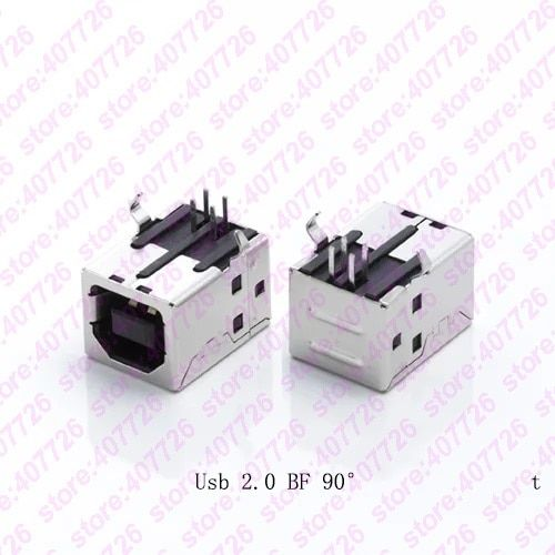 5pcs Usb 2 0 Connector Socket Jack Female Type B 90 Degree Connector Soldering Pcb Connector Printer Interface White Black Review Usb Printer Interface