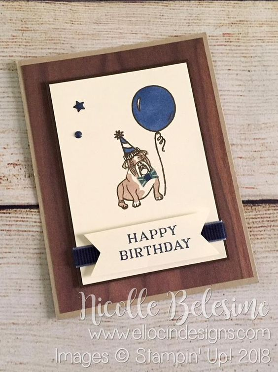 Bulldog themed Happy Birthday card made with Sitting Pretty, Bird Banter, and Perennial Birthday stamp sets, and Wood Textures Designer Series Paper from Stampin' Up! nicollebelesimo.stampinup.net