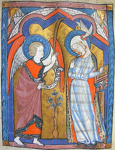 the Annunciation -  MS K.26, one of a sequence of 46 Biblical illustrations (c.1270-80) inserted at the front of a fourteenth-century Psalter (English)