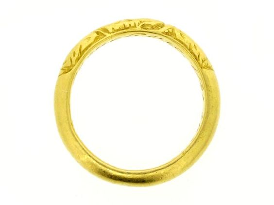 "17th century gold posy ring - ""Not lost but gone before"""