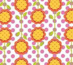 Andalucia Patty Young Mod Bloom tangerine white 0,5 m reine Baumwolle Stoff Blumen Deko Punkte rosa blau weiß