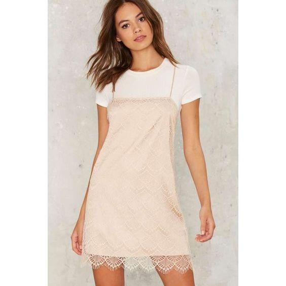 Get Some Slip Mini Dress (385 HRK) ❤ liked on Polyvore featuring dresses, beige, mini dress, lace trim dress, beige slip dress, lace trim slip dress and short dresses