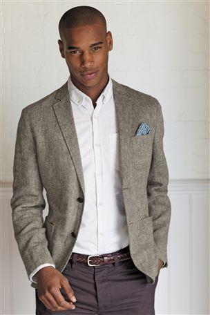 Next Grey Cotton Blazer, Off White/Cream Oxford Shirt & Burgundy ...