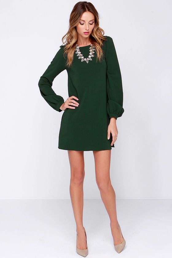 Perfect Situation Dark Green Long Sleeve Shift Dress - Sleeve ...