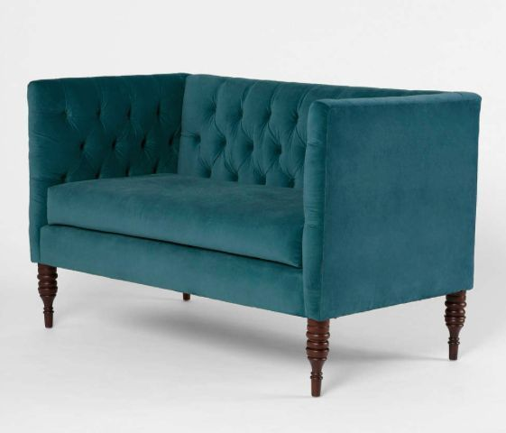 Turquoise Blue Loveseat Teal Tufted Tuxedo Modern Sofa Couch Contemporary Settee