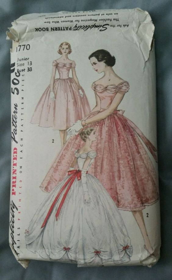Vintage 1950\'s Ladies SIMPLICITY EVENING Ball GOWN DRESS PATTERN ...