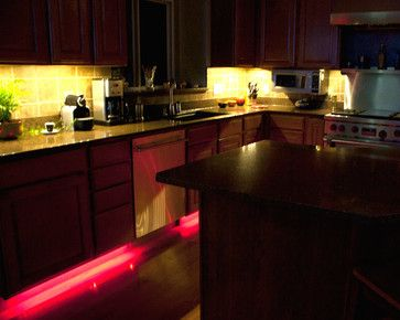 LED kitchen lighting, white under cabinet lights and red toe kick ...
