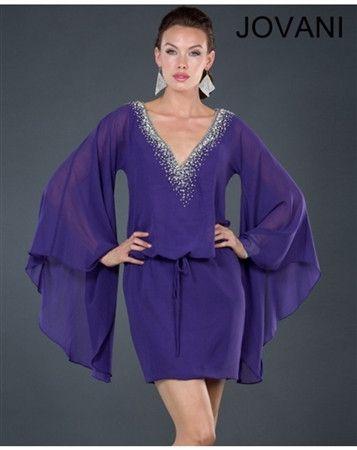 Purple Jewel Embellished Chiffon Bell Sleeve Dress