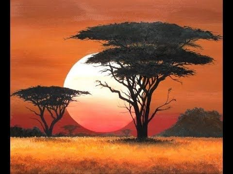 Simple Acrylic Sunset Painting Tutorial For Beginners Ii Easy Landscape Painting Nature Painting Africa Painting Sunset Painting Landscape Paintings Acrylic