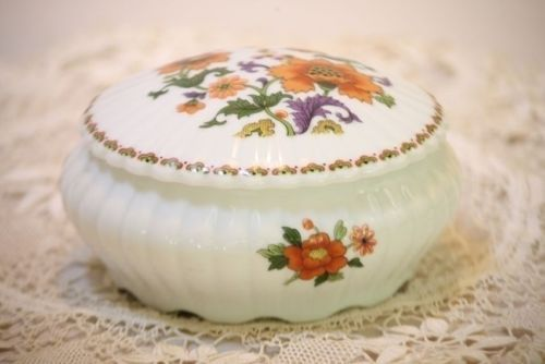 Limoges Round Trinket Box Powder Rochard France Asian Orange Purple Floral White
