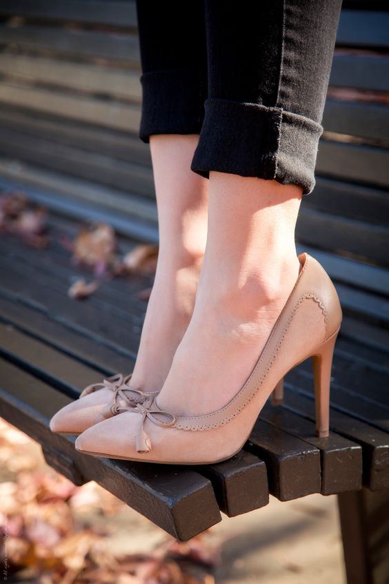 Nude heels Heels and Bright colors on Pinterest