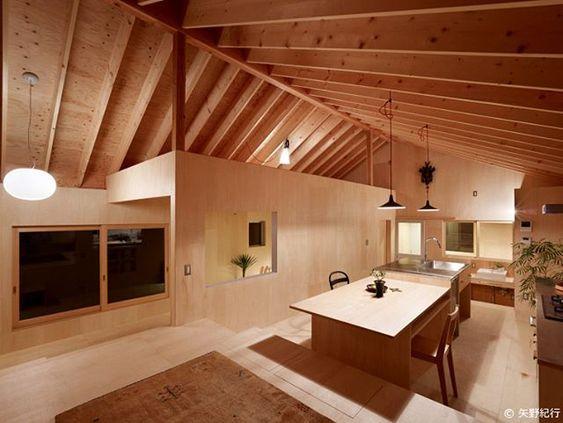 合板で表現したぬくもりのあるダイニングキッチン 三滝の家 ハンクラ