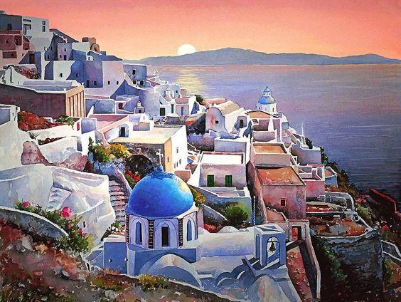 Pantelis Zografos. Греция в акварелях. Santorini