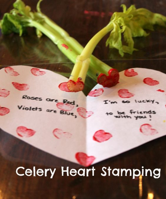 Valentine's day craft for preschoolers...celery heart stamping