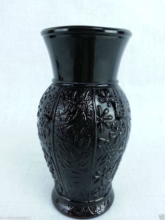 vintage black amethyst glass round floral embossed pattern vase 5 tall floral black. Black Bedroom Furniture Sets. Home Design Ideas