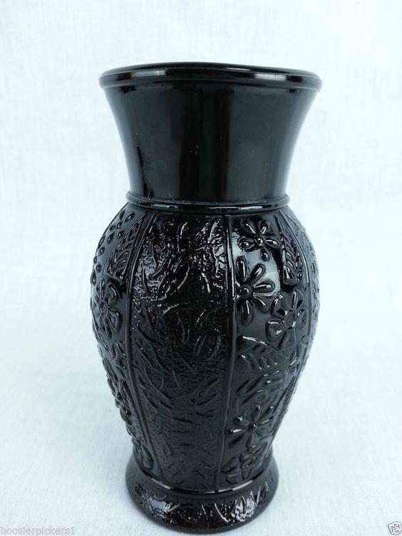 vintage black amethyst glass round floral embossed pattern vase 5 tall floral black. Black Bedroom Furniture Sets. Home Design Ideas