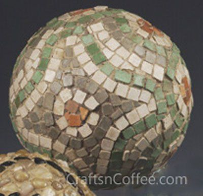 Stone Mosaic Garden Ball  #dearthdesign #austin #texas #custom #homedesign #builder #DIY #garden www.dearthdesign.com