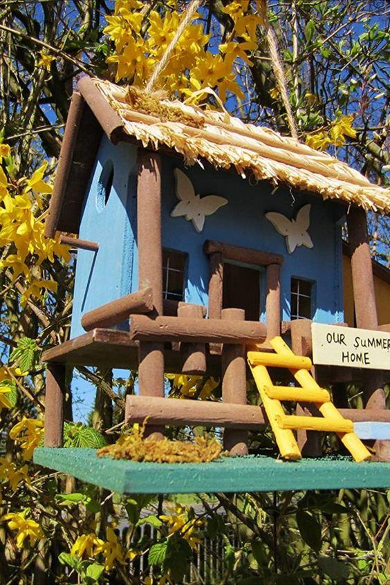 Vogelvilla für Terasse, Garten, Balkon Handarbeit, bunt H 24cm, B 25cm, T 17cm. aus Holz mit vielen Details... *Pin enthält Werbelink