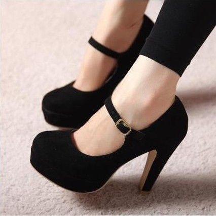 Fashion solid color round head high heels | I love Heels and Black