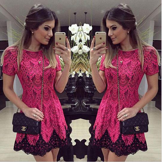 2015 summer fashion mulheres a vestido de linha casual red floral impresso vestido mostrar fino confortável o pescoço de manga curta mini vestidos em Vestidos de Roupas e Acessórios no AliExpress.com | Alibaba Group