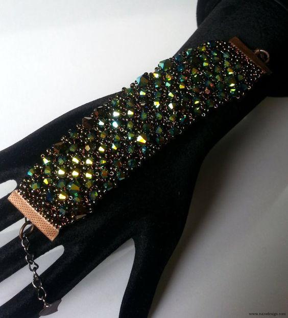 Bracelet - Knit Wire Bracelet-Knitted Bracelet - Crystal Bead and Wire Knit Bracelet - Green Bracelet