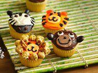 Jungle Cupcakes- lion, monkey, zebra, tiger
