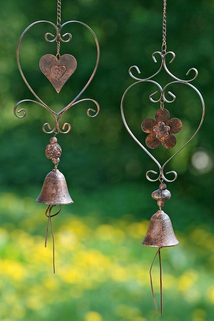 Wind bells...I love these in my garden, my husband hates them! Too bad, they're there to stay!: