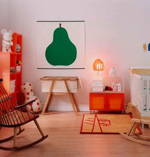 A simple, modern nursery with large scale art