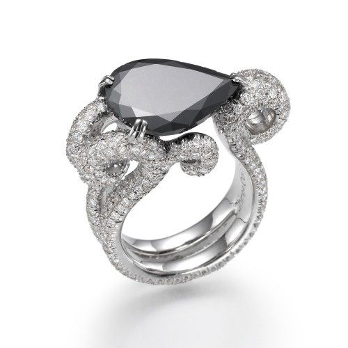 Pear-shaped black #diamond #ring with a 6.25ct #black diamond and 3.25ct white diamonds. $18,000.00