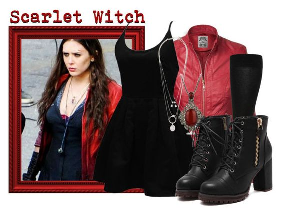 """Scarlet Witch"" by the-beautiful-nightmare ❤ liked on Polyvore featuring WithChic, Falke, Mumu, Maison Margiela and murphysbounds"