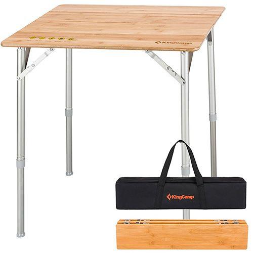 Kingcamp 4 Fold Heavy Duty Adjustable Height Aluminum Frame Folding Bamboo Table With Carry Bag Camping Table Folding Table Bamboo Table