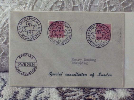 http://ajunkeeshoppe.blogspot.com/  First Day Issue / Cover - Stamp - Special Cancellation Sweden 1954 8ozP725B4HP1138