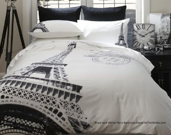 Modern Black And White Paris Bedroom Decor Bedding For Small Room More