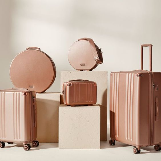 Baye Small Hat Box Rose Gold Luggage Rose Gold Style Cute Luggage