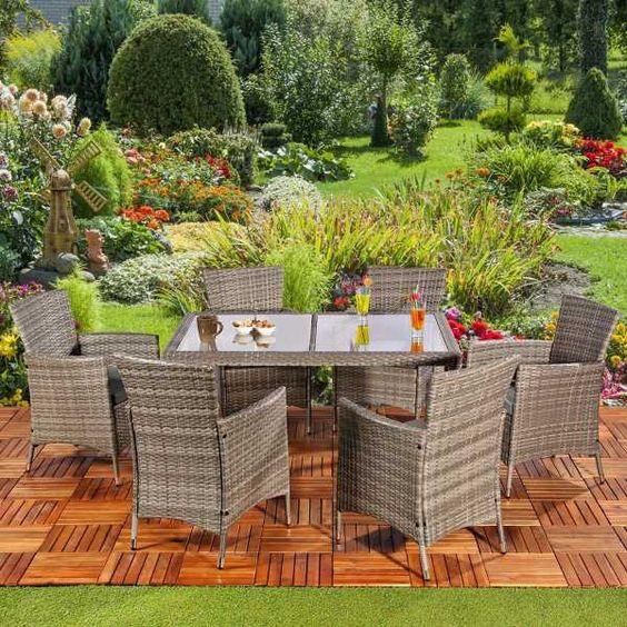 Garten loungemöbel polyrattan  13 TLG. Poly Rattan Sitzgruppe. Gartengarnitur Garten Garnitur ...