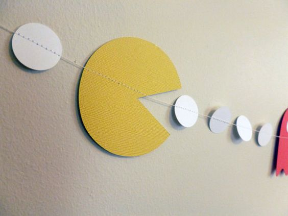 Retro arcade Pac Man garland! Perfect for any 80s party! #arcade #retro #pacman Etsy listing at https://www.etsy.com/listing/229642913/pac-man-arcade-party-decor-arcade