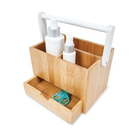 Bamboo Caddy Kmart Storage Bathroom Essentials Cosmetic Organiser