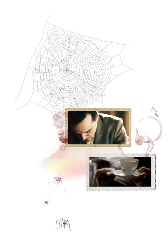 """""""Big flies break the spider web"""" by calamita ❤ liked on Polyvore featuring art, moriarty, web, sherlock, andrew scott, challenge, spider and tag"""