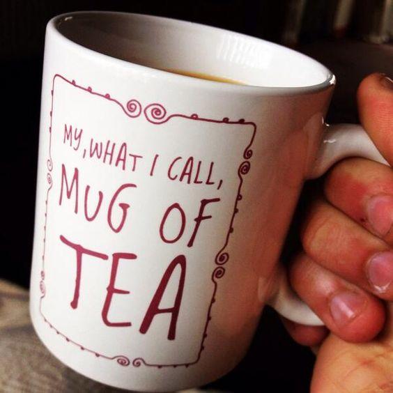 """Miranda Hart tour merch: """"My, what I call, mug of tea"""". There's also a mug for coffee."""
