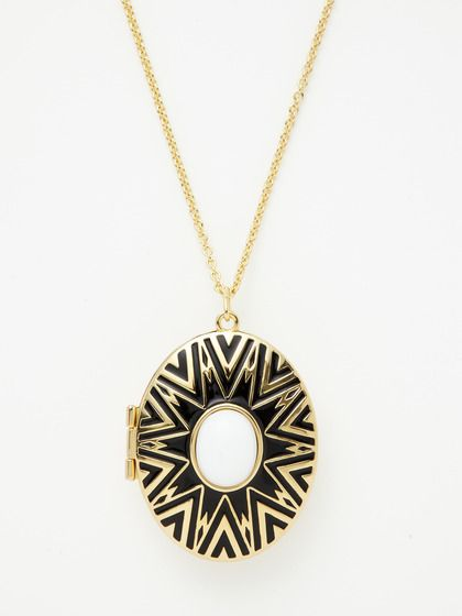 Reversible Gold & Enamel Locket Necklace by House of Harlow 1960 on Gilt.com
