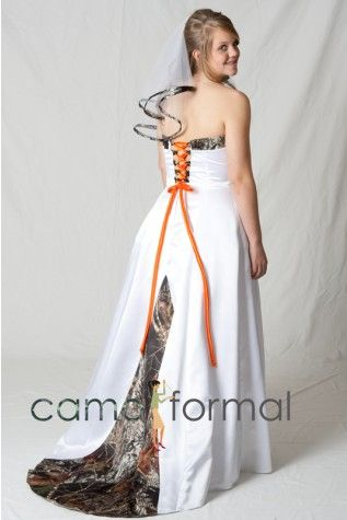 Bridal white satin with camo accents everything orange or for Camo accented wedding dresses