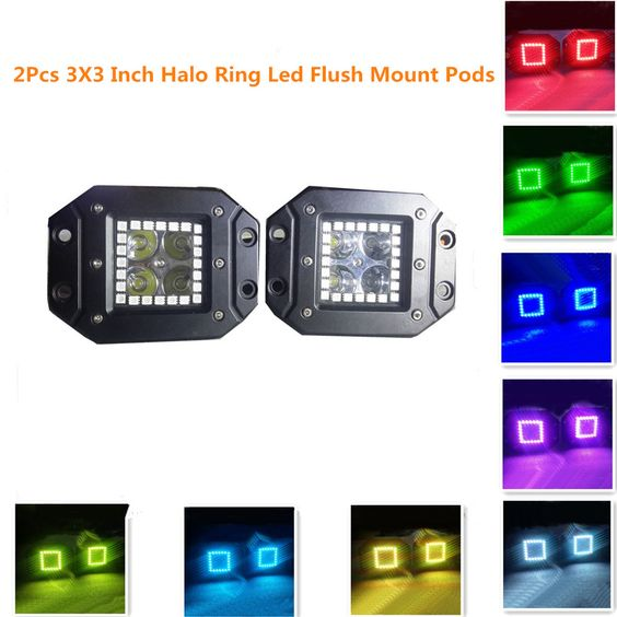 Night Break Light 12W 3x3 Inch Remote Controller Flush Mount LED Pods/Cubes RGB Halo Ring Spotlight SUV Off Road Headlight Pods Driving Fog Light With Mounting Bracket(Pack of 2)