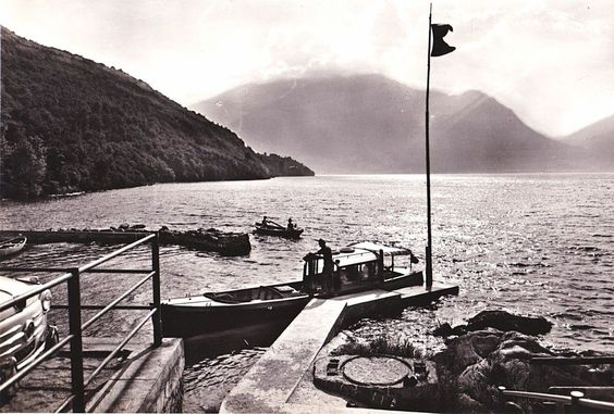60s Italy Travel Postcard Italy Lago di Como Mountain Water Boat Scene B&W
