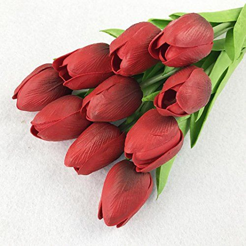 Xiaoheshop Xhsp 30 Pcs Real Touch Artificial Tulip Flowers Home Wedding Party Decor Silk Flower Arrangements Artificial Flowers Home Wedding Decorations Home Wedding