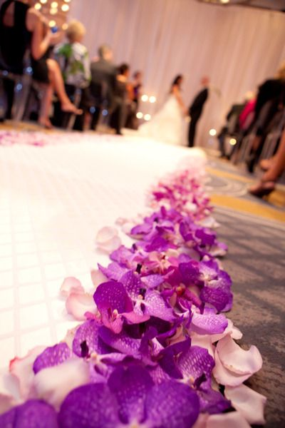 Aisle lined with purple orchids