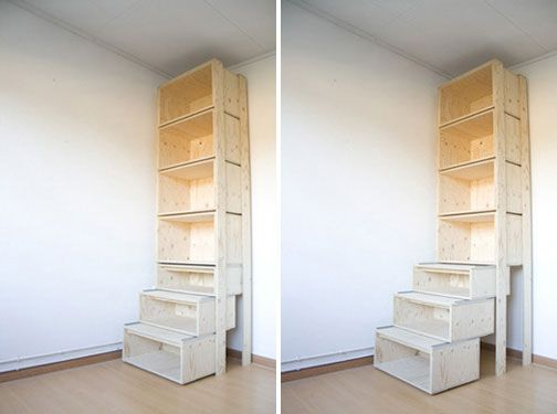 A cabinet that turns into pull-out stairs so you can reach the top shelf!