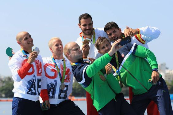 Silver medalists Liam Heath and Jon Schofield of Great Britain, gold medalists…