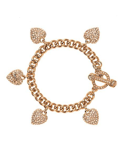 Pre-Assembled Pave Heart Charm Bracelet - Jewelry - Juicy Couture